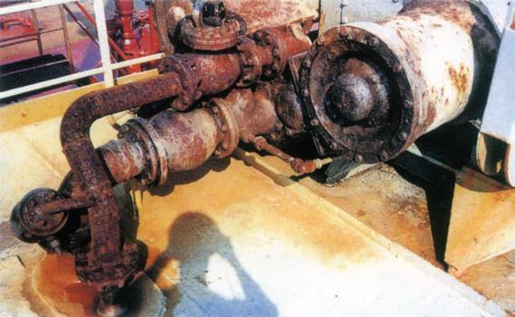 Deck steam pipe corrosion